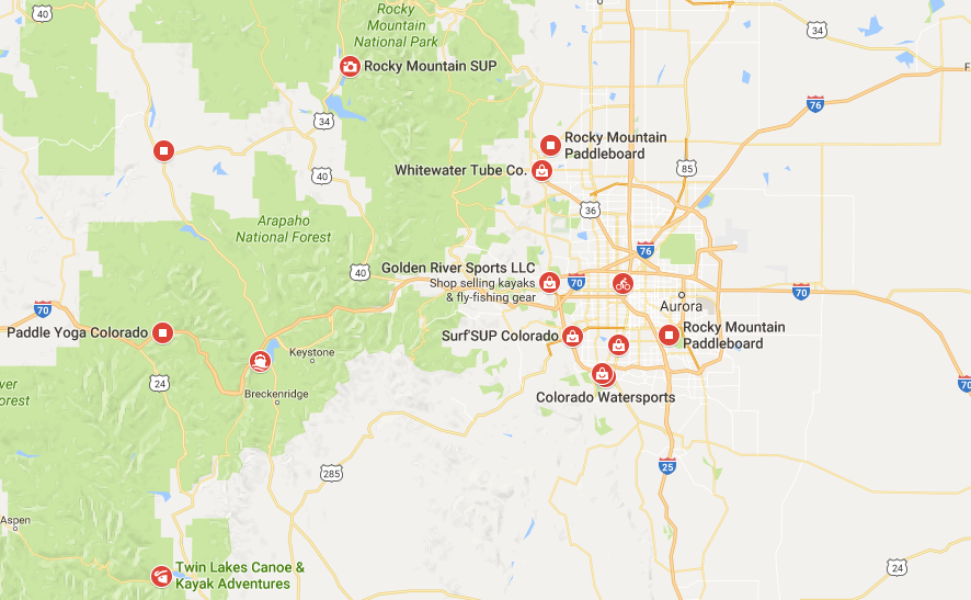 Map of paddle boarding locations in Colorado