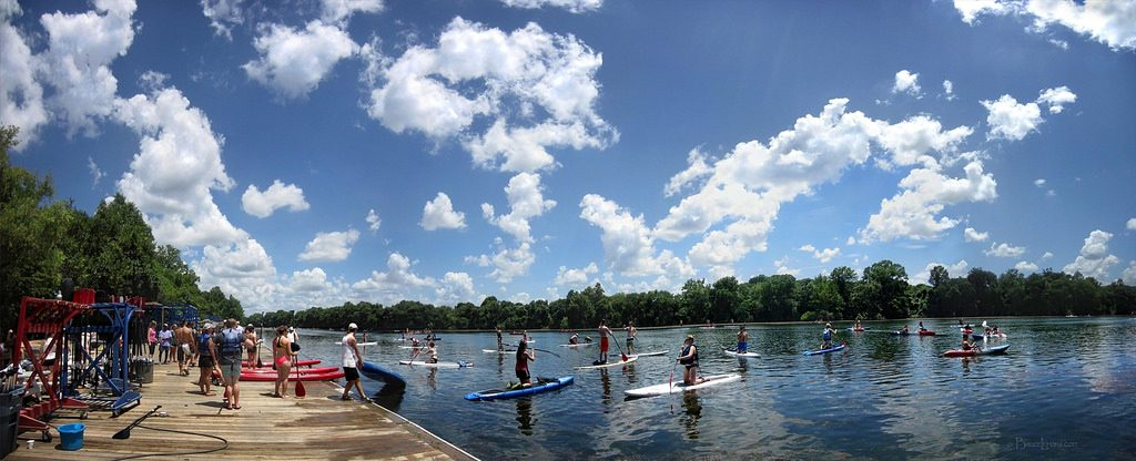paddle boarding at texas rowing center Austin