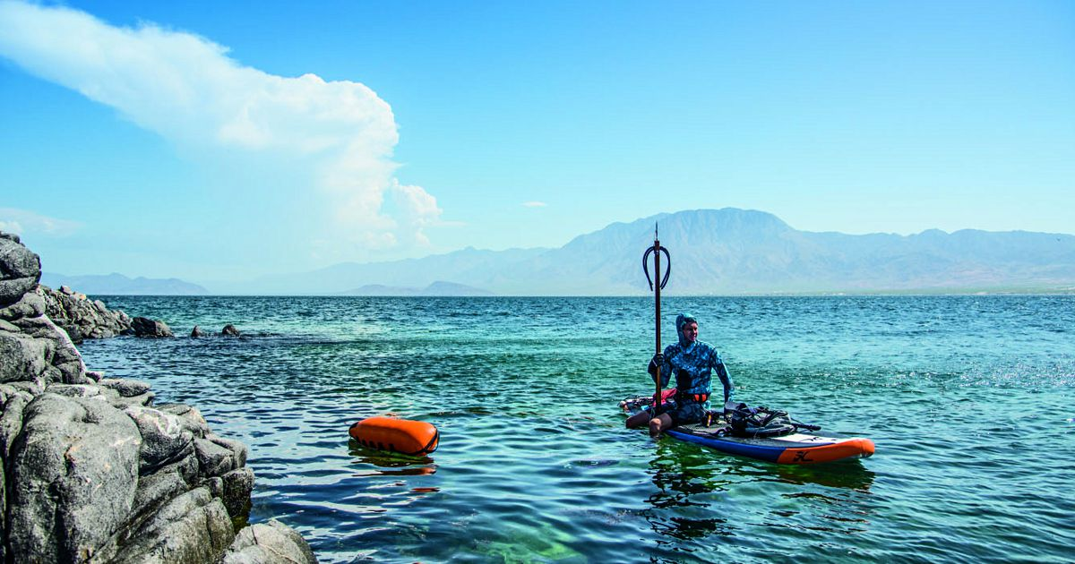 speargun fishing on a SUP