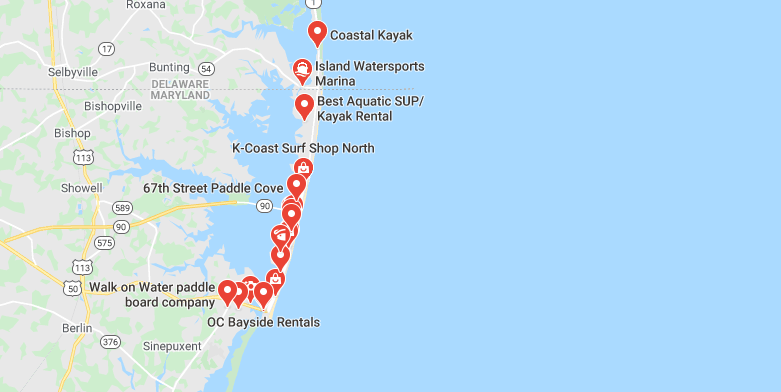 Map showing Best places to rent a paddle board at Ocean beach MD